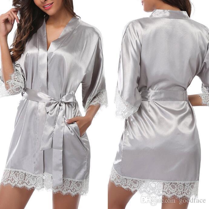 Women Sleepwear Robes Sexy Underwear Robe Sets Sexy Lace Soft Ice Silk Underwears Plus Size Sleeping Skirt 7 Colors