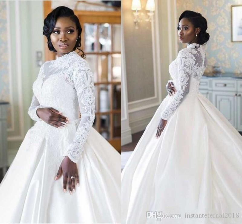 Afrika Uzun Kollu Yüksek Boyun Müslüman Gelinlik 2020 Plus Size Dantel Aplikler Saten Hat Düğün İnciler Gelin Gowns