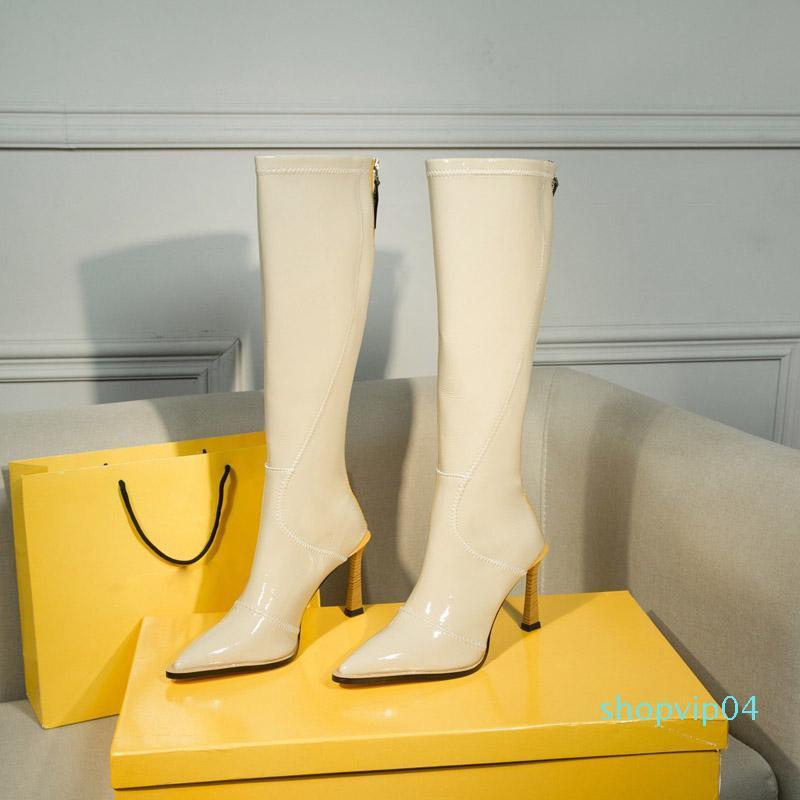 Diz Boots Sexy Lady Yüksek Topuk çizme üzerinde Sıcak Satış-Kış yeni Parlak neopren çizme moda Diz-yüksek fermuar çizme Kadınlar Önyükleme