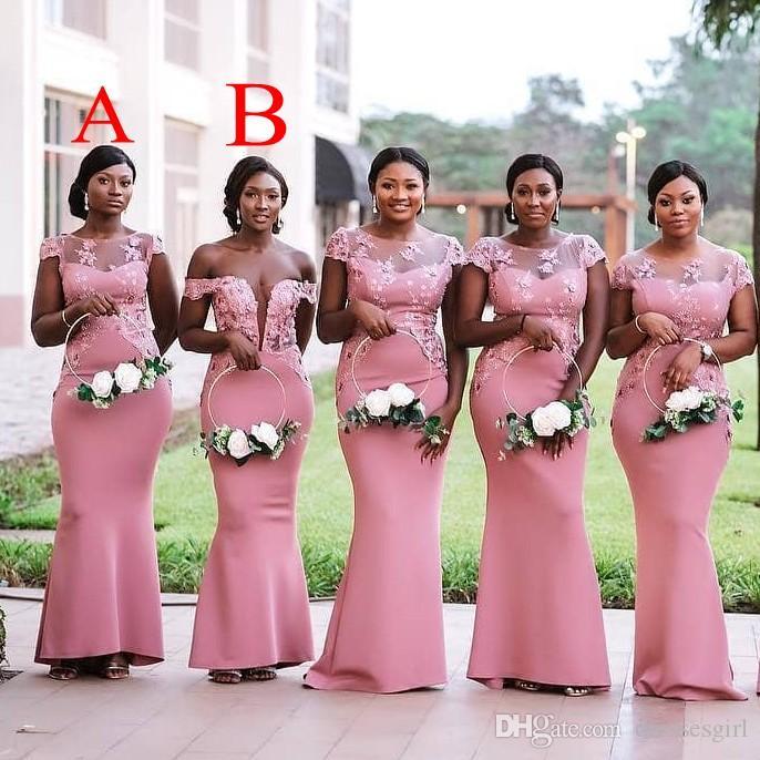 Nijerya Sheer Boyun Mermaid Gelinlik Modelleri 2 Stilleri Kapalı Omuz Onur Hizmetçi Kıyafeti Çiçek Aplikler BM0614