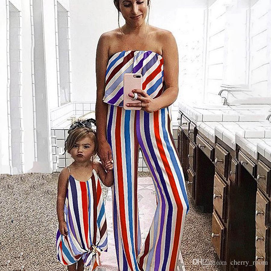 Fashion Girls с бантом на шнуровке Ремешок Лето без бретелек мать ребенка дочь соответствия Комбинезон семьи соответствия наряды Y2194