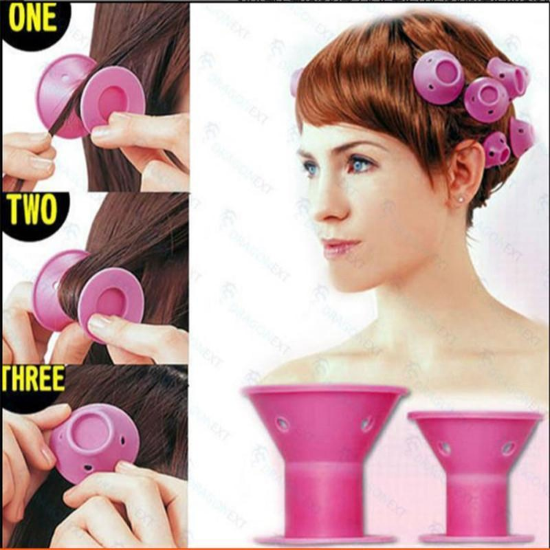 SILICONE curlers 10Pcs set Hair Style Soft Hair Care DIY Peco Roll Hair Style Roller Selicone Salon Soft Pink Color Hair Roller