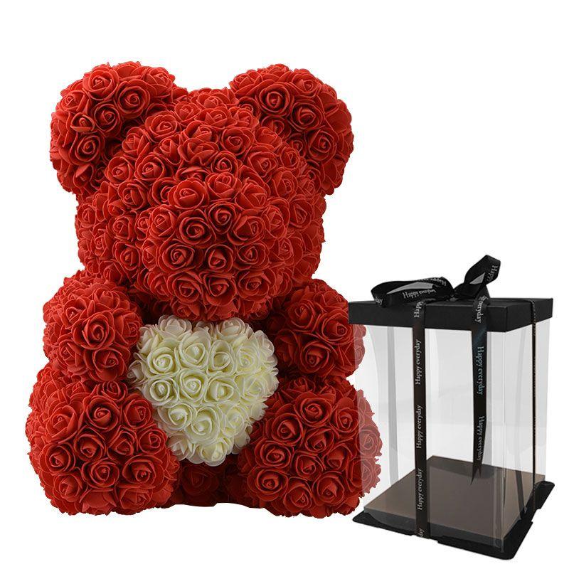 Regalos de navidad artificiales del amor del corazón del oso de peluche flores artificiales de la flor de Rose Jabón para las mujeres el día de tarjeta regalo del cielo