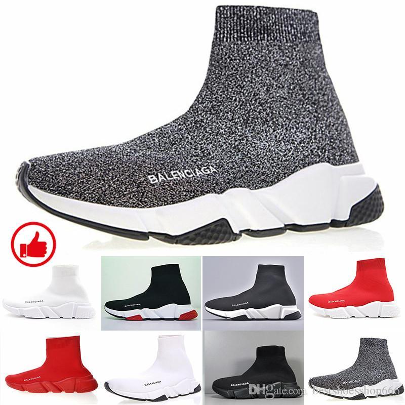 Tasarımcılar Sneakers Hız Eğitmen Siyah Kırmızı Gypsophila Üçlü Siyah Moda Düz Çorap Çizme Günlük Ayakkabılar Hız Eğitmen Runner ile GTT-3