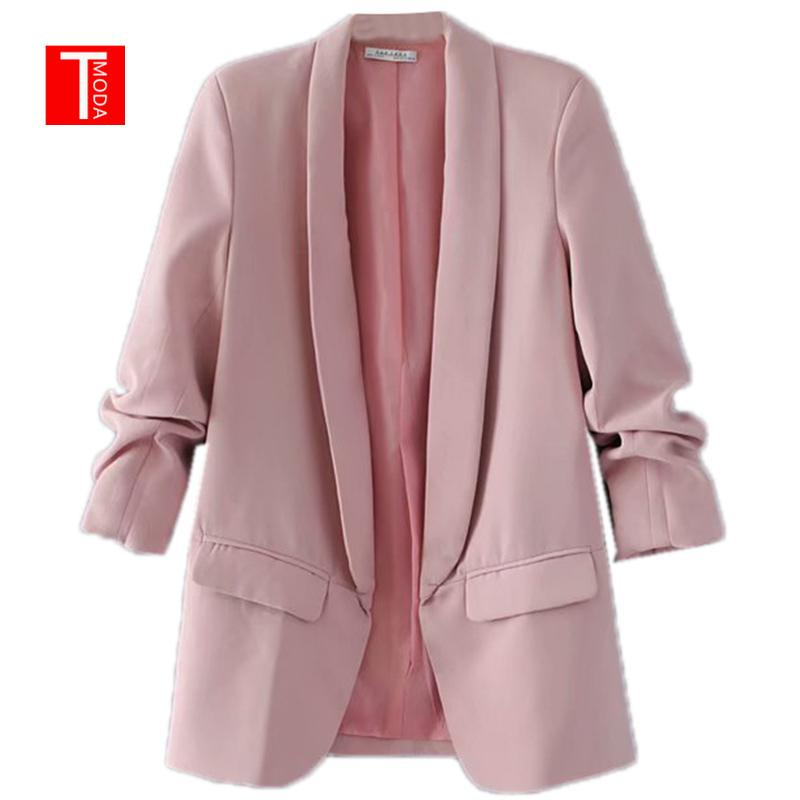 & Suits Blazers Pink Shawl Collar Elegant Office Ladies Workwear Blazer Long Sleeve Regular Fit Minimalist 2018 Women Autumn Blazer 7...