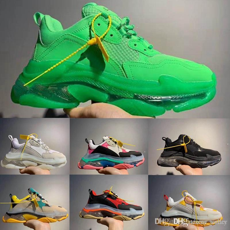 Erkek Kadın Vintage Kanye Baba Ayakkabılar 2019 Paris 17FW Kristal Alt Yeşil Lüks koşu Ayakkabı Platformu Üçlü S Sneakers