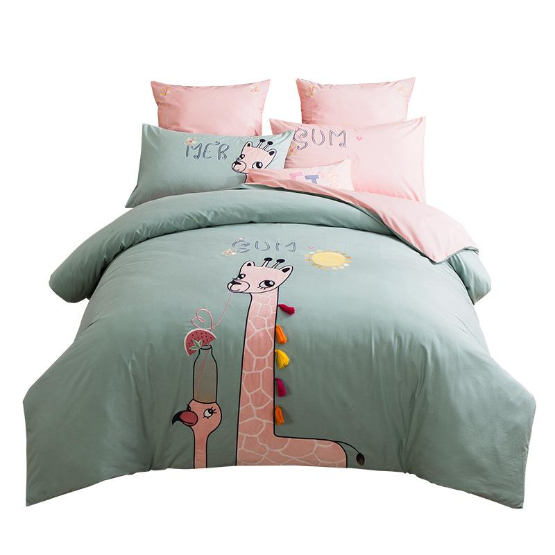 Children Bedding Set Queen Size Cartoon Kids CUTE Beddingset Twin Size Cotton 3/4pcs Girls Home Bedding Duvet Cover Bedsheet Pillowcase Sets