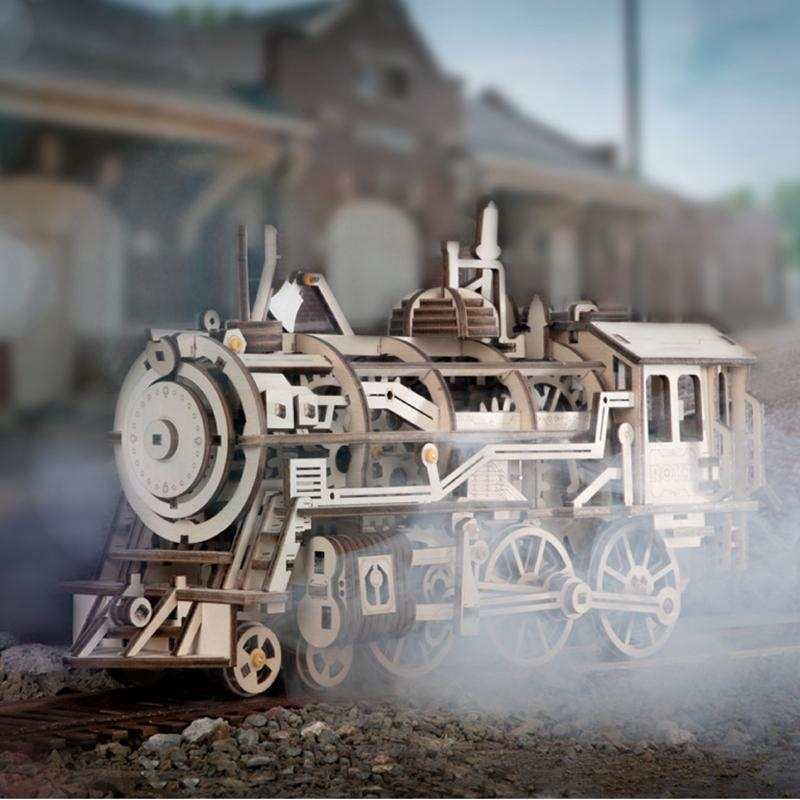 DIY Clockwork Drive Gear Locomotive Kits de construction en bois Modèle 3D Jouets Passe-temps cadeau pour les enfants adultes