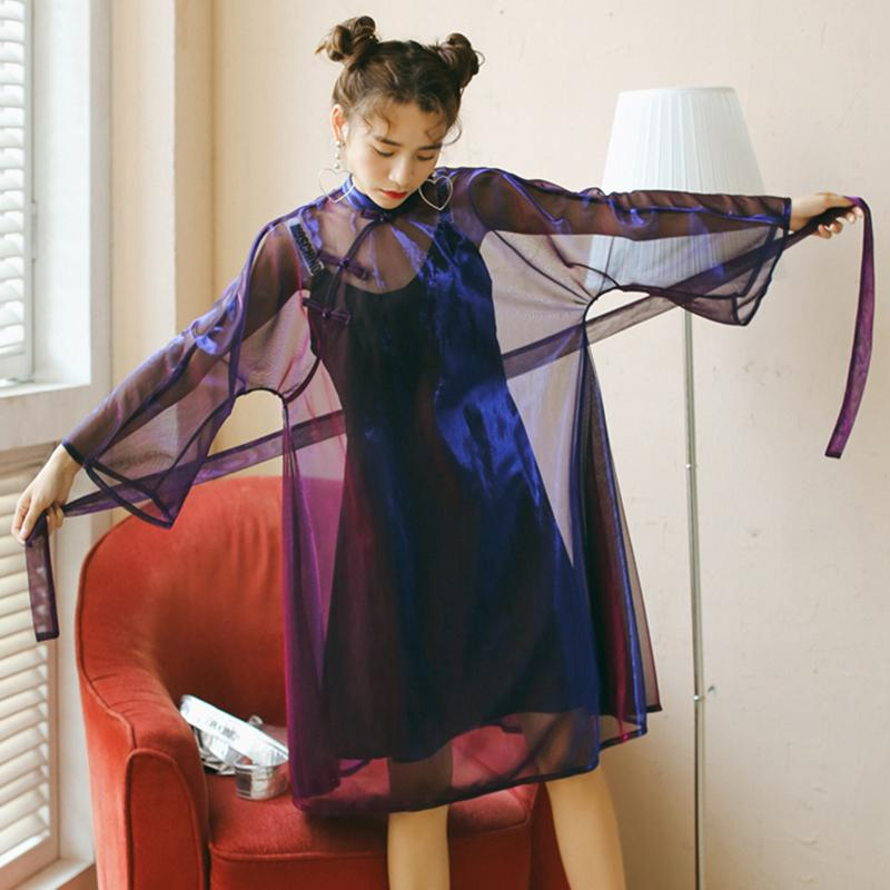 Women Summer Harajuku Pullovers Vintage Long Sleeve Chic Bow Straight Loose Female Transparent Dress Sun Protection Clothings