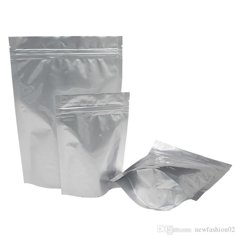100pcs recyclable aluminum foil standing zip lock zipper packing bag mylar food storage bag retail high quality coffee package bag