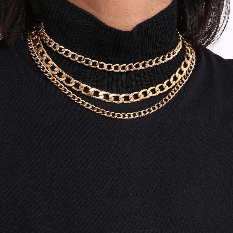 Личность геометрические старинные женщины ожерелье простой стиль мода металлическая цепь хип-хоп панк ожерелья для девочек
