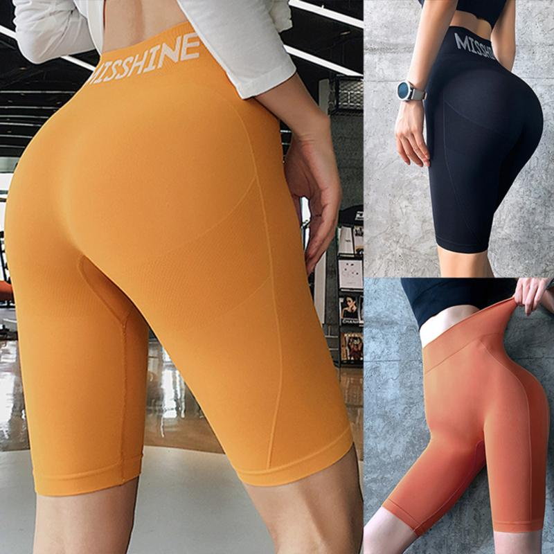 2020 a vita alta Estate Pantaloncini Vintage Women Sexy Biker pantaloncini corti Feminino nylon giallo neon pantaloncini neri pantaloni della tuta