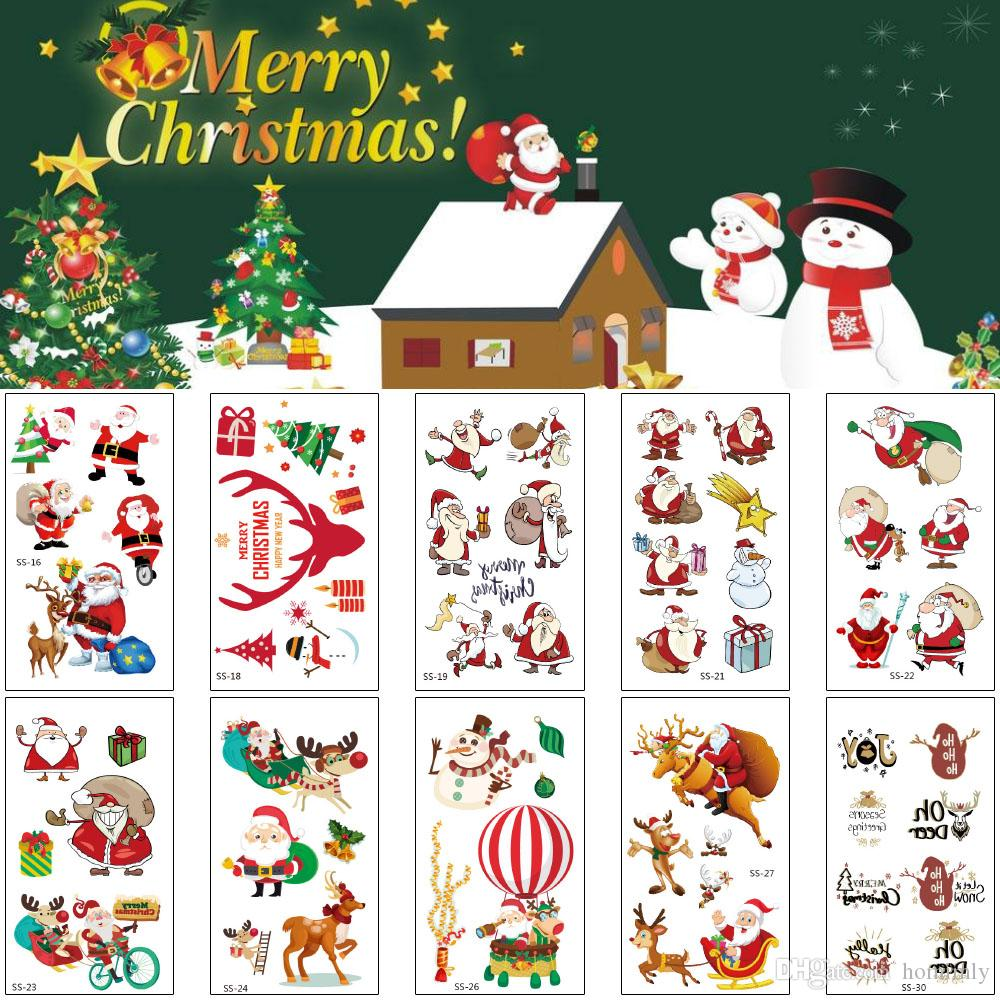 Merry Christmas Temporary Tattoo Sticker Gift Lovely Red Santa Claus Tree Snowman Design Funny Small Decal for Child DIY Body Arm Leg Tattoo