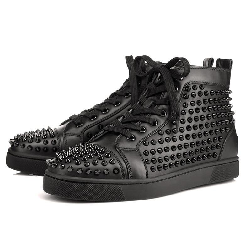 2019 zapatillas de deporte brillo inferiores del rojo diseñador de zapatos de los hombres las mujeres remache de la moda de lujo de la boda del partido genuino zapatos de cuero de clavos tamaño L1