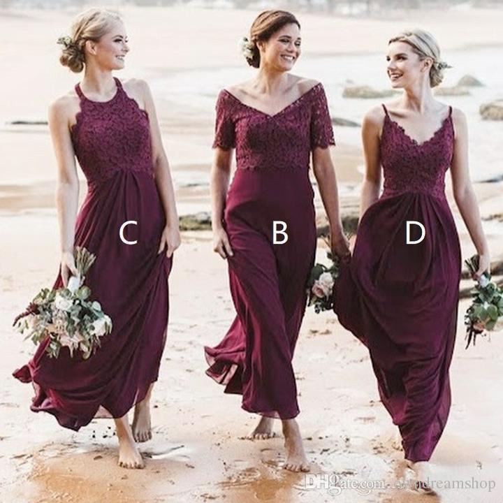 세련된 해변 부르고뉴 국가 들러리 들러리 드레스 믹스 앤 매치 스타일 탑 레이스 바닥 시폰 웨딩 파티 가운 싸구려 하녀의 명예