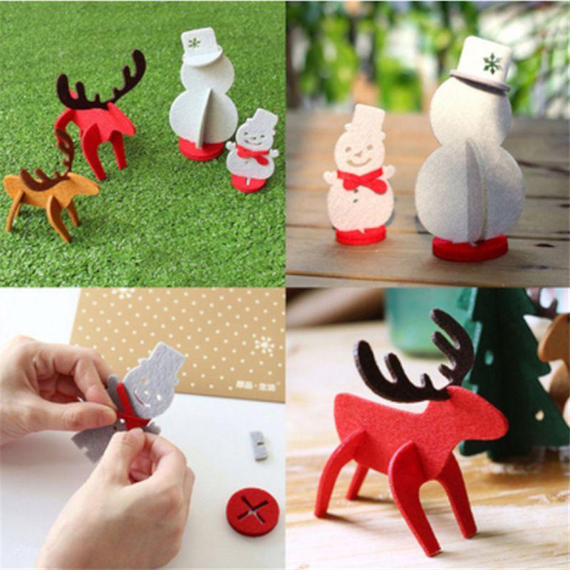 1pc New DIY Elk Snowman Christmas Ornaments Felt Cloth Xmas Party Decoration Ornaments Children's Gifts For Home Bars Festive