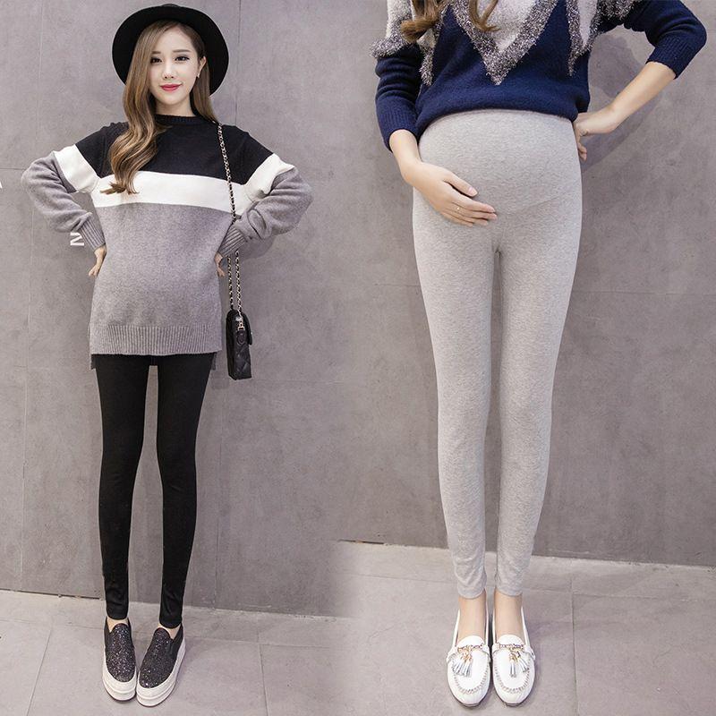 Spring/Autumn Warm Soft Leggings Clothing Pregnant Women Pants Solid Color Large Size Elastic Cotton Slim trousers 6Q2626