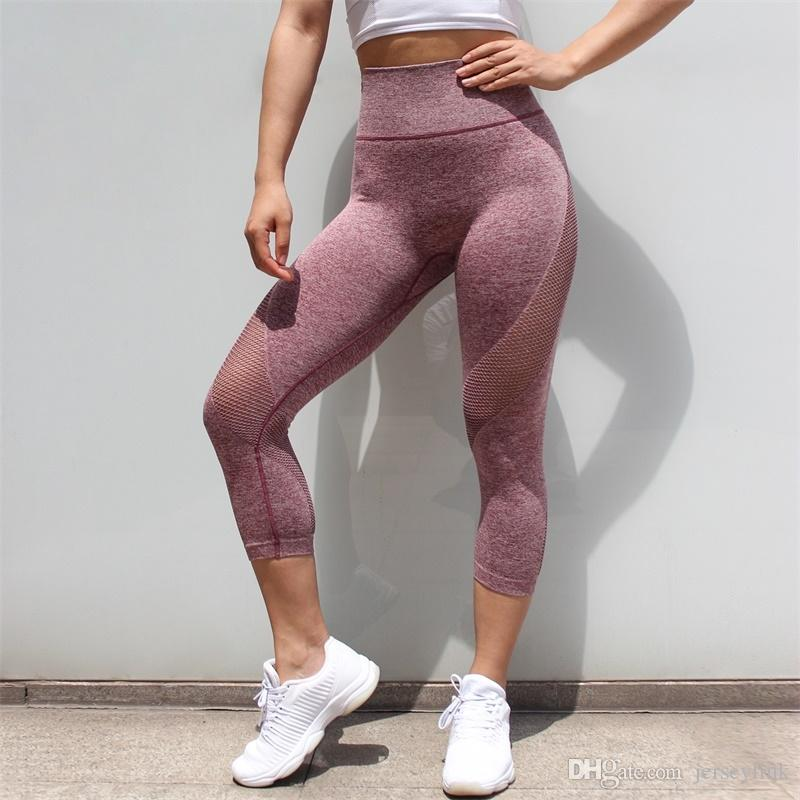 Neue frauen hohe taille strumpfhosen sportbekleidung frau gym leggings yoga hosen für mesh capris sport fitness sport hosen yoga leggings # 1008220