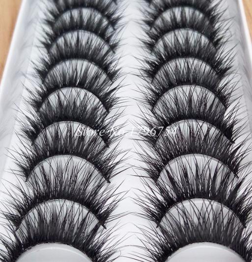 2019 Nuevos 10 Pares de Fibra Gruesa Pestañas Falsas Algodón Hecho A Mano Falsas Pestañas Herramienta de Maquillaje Naturalmente pestañas