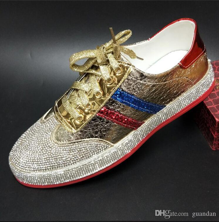 Homens Hip Hop Sapatilhas Da Marca sapatos Sapatilhas Runway Designer de Couro de Patente vermelho Red fundo de Borracha De Ouro Prata Sapato Casual dh2a36.