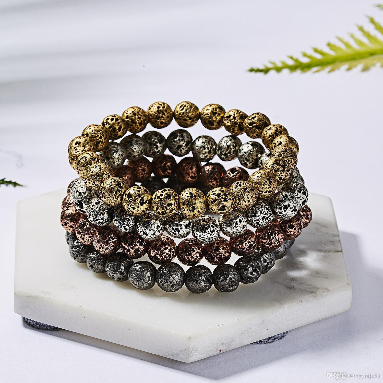 Nouveau High Grade Perles de pierre de lave naturelle Bracelet nouvelle mode pierre de lave Chakela Bangles Energy Yoga Bracelet en perles
