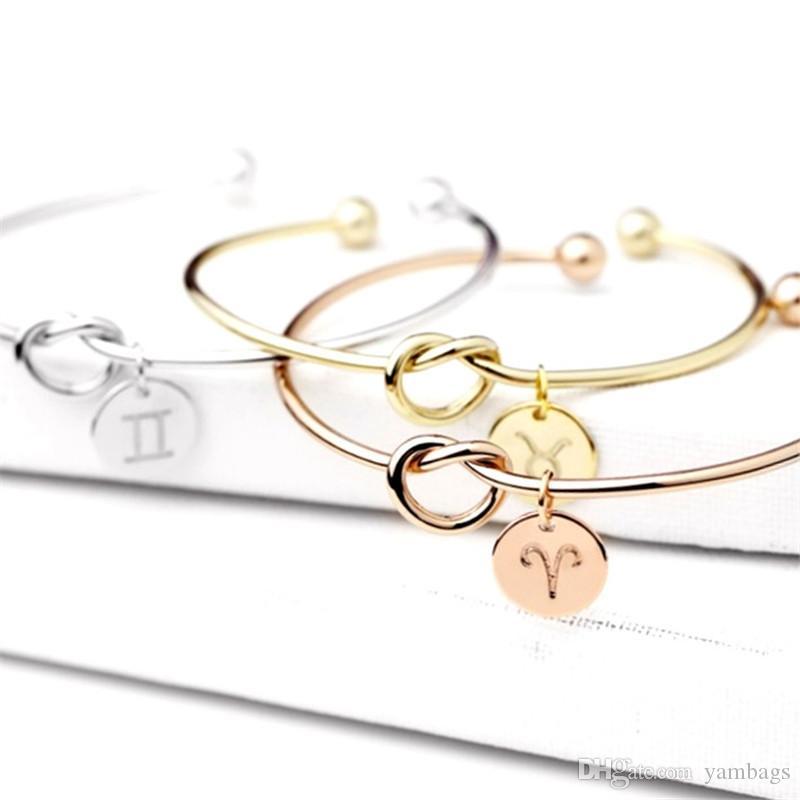 عقدة القلب سوار الإسورة روز الذهب والفضة اللون زودياك علامات 12 كوكبة الرجال سبيكة جولة قلادة سحر سلسلة مجوهرات للنساء الفتيات