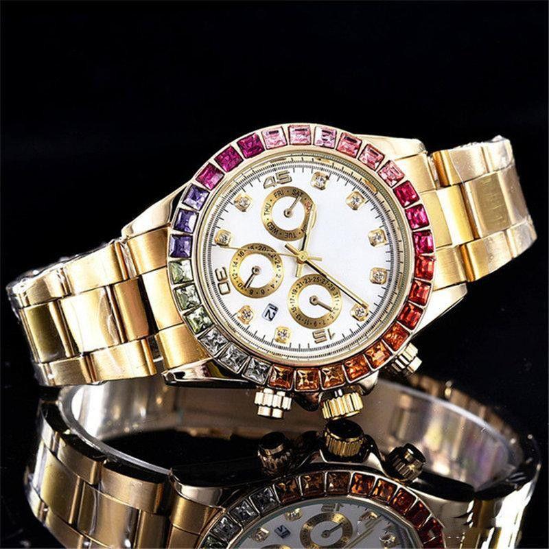 Luxury Мужские часы 9 Стиль Мужские льда из голубой циферблат каштановый цветов керамический ободок 116520 116500 40мм Автоматическая мода Мужские часы
