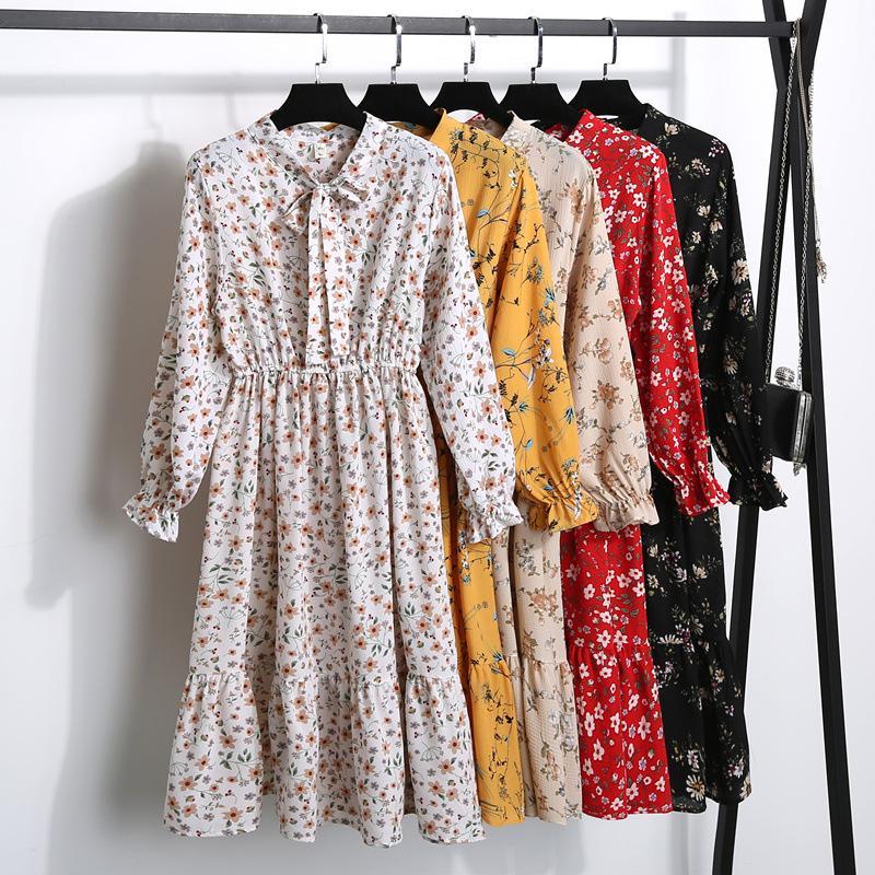 Coréen T-shirt Vestidos à pois vintage Robes d'automne femmes Dresss Pring 2020 Floral robe à manches longues en mousseline de soie Robe Femme