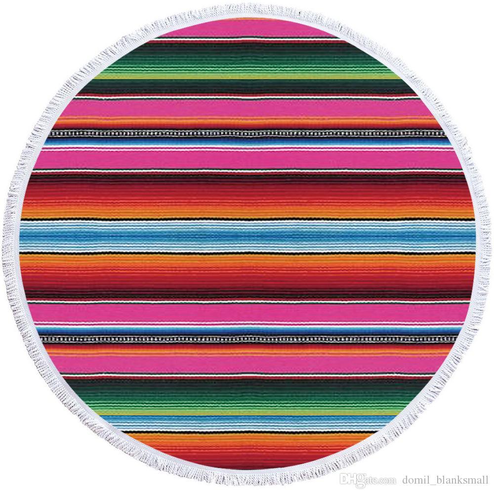 개의 Tassels 사용자 정의 무지개 줄무늬 DOM-1081250 도매 해바라기 라운드 비치 타월 Cowside 라운드 타올 Serape 레오파드 Yaga 담요