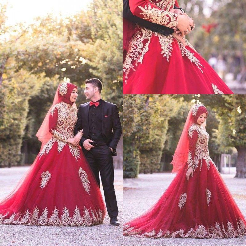 Billiga muslimska Bourgogne långa bröllopsklänningar High Neck Långärmade Tulle Appliques Bridal Gowns Plus Size Wedding Dress Vestidos de Novia