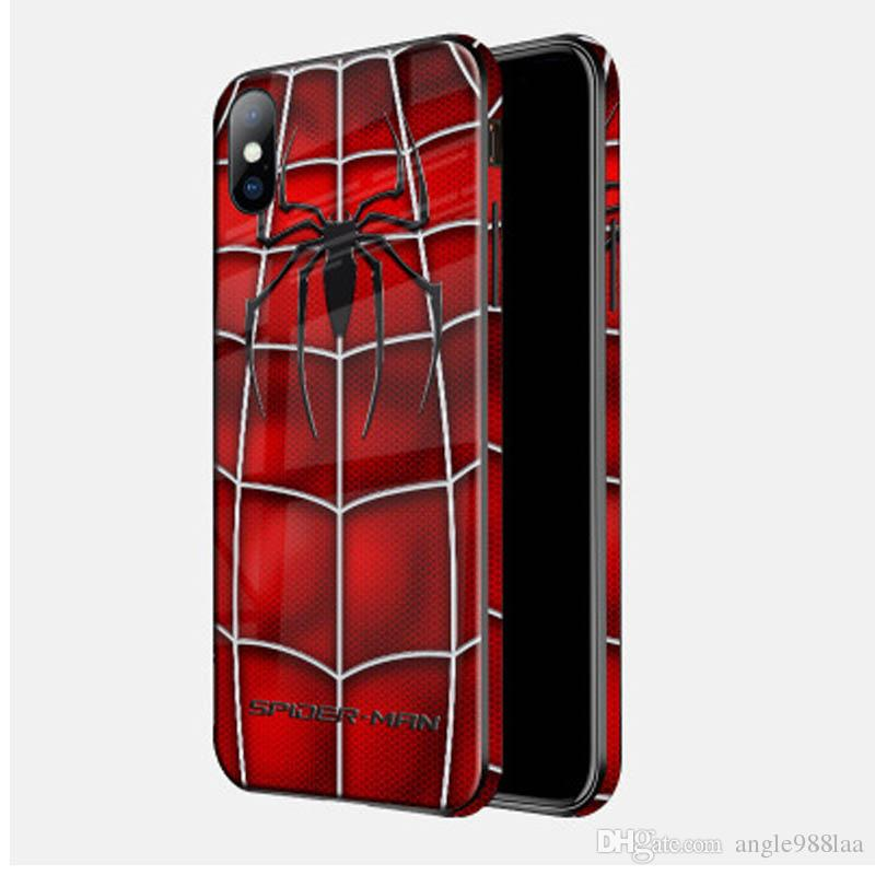 Explosion creative Marvel cell phone shell glass painting for Marvel Movie Avengers 4 cellphone shell Apple 7 8 4.7 XR XS Max6.5Custom card