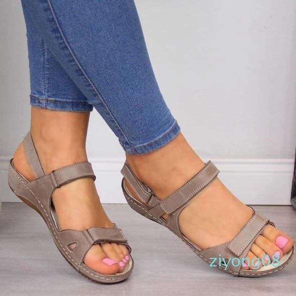 Litthing Yeni Düz Sandalet 2019 Yaz Açık Burun Katı Sahte Deri Kadınlar Casual Platformu Roma Bayan Ayakkabıları Z08