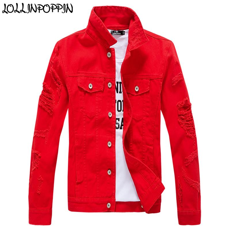 Einfarbig Männer Zerstört Jean Jacke Punk Hip Hop Rand Manschetten Herren Jeansjacke Ripped Sleeves Denim Mantel Rot / Rosa / Weiß