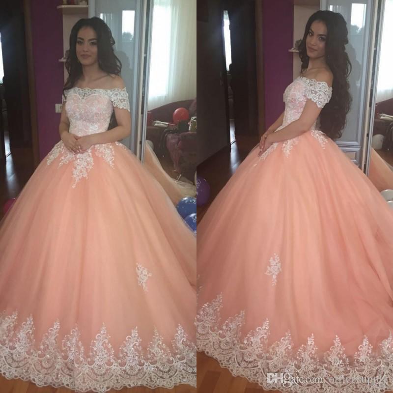 Платья Peach Quinceanera 2019 Off Flush Appliques Thumby Corset Back Ball Princess 16 лет Девочки Prom Party Partys Custom