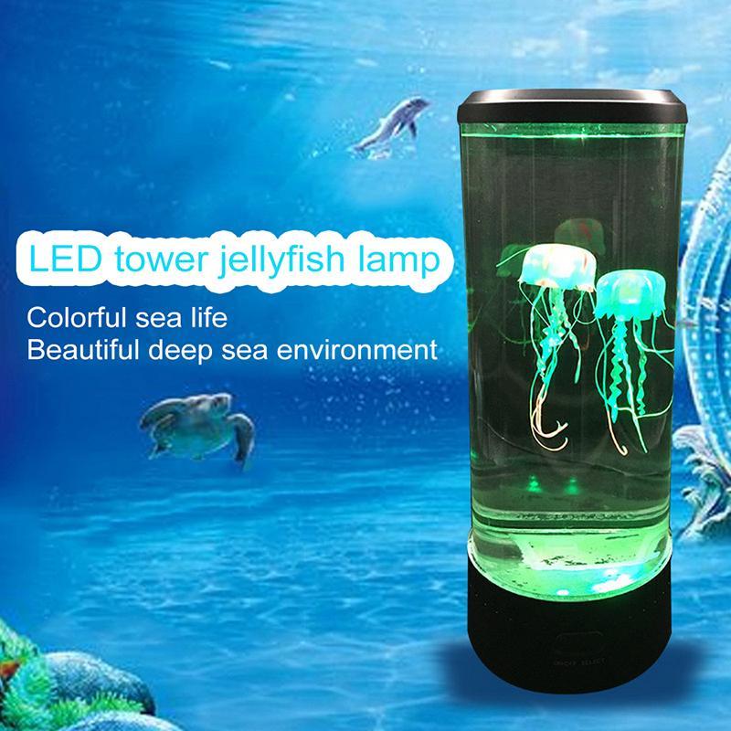 مصباح LED برج قنديل البحر ليلة وتغير الضوء السرير مصباح USB سوبر توفير الطاقة مصباح حوض السمك تزيين المنازل الجديدة