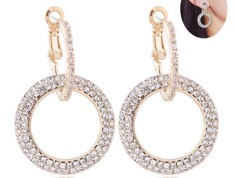 New Rhinestone Circle Long Earrings Temperament Korean Personality Earrings Europe and America Female Ear Jewelry