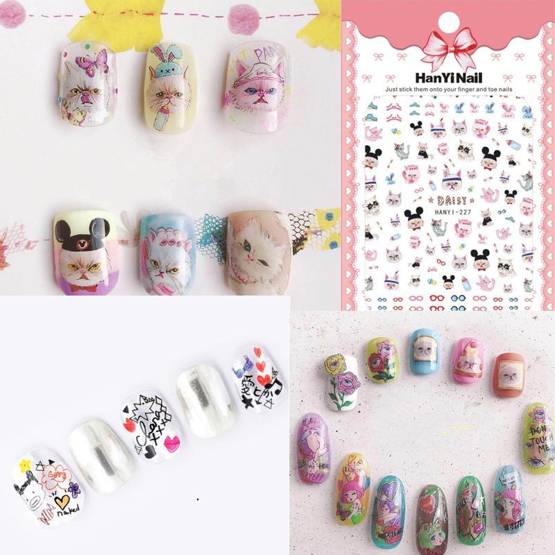 3d Nail Sticker Chat de Bande Dessinée Bricolage Sticker Stickers Conseils Belle Fille Manucure Charme Conception Adhésif Décoration Art Pour Ongles