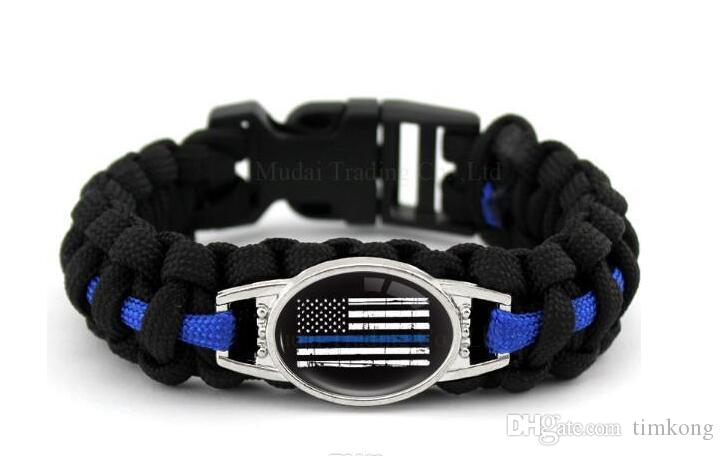 Ähnliche Schwarz Blau DÜNNE BLAUE LINIE Amerikanische Flagge ZURÜCK DIE BLAUE POLIZEI Paracord Survival Outdoor Camping Armband für Frauen Männer Girlfr