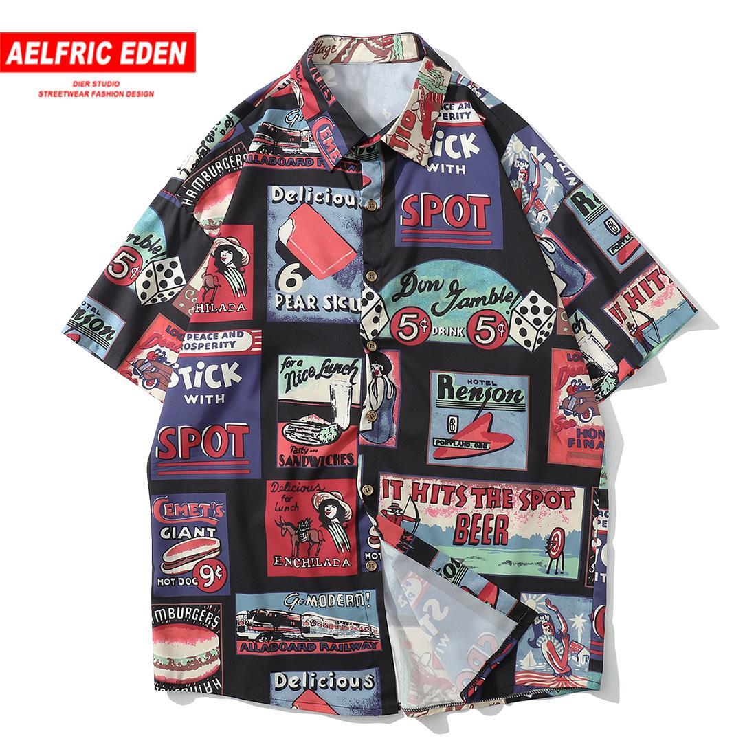 Aelfric Eden Shirts Men Casual Street Männer 2019 Sommer-Hip Hop-Hemd Mode Strand-Kurzschluss-Hülsen-Turn-Down Hawaii Tops Tees T200622