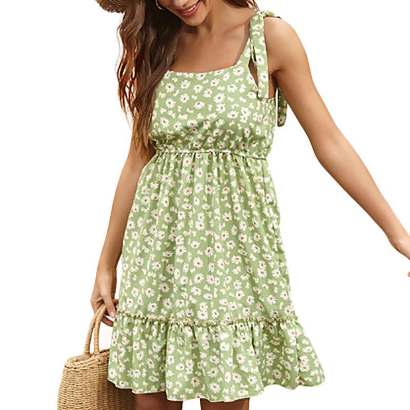 Лето Элегантный Sexy цветочные печати мини-платье Мода Женщины Спагетти ремень цветочные печати платье Повседневный
