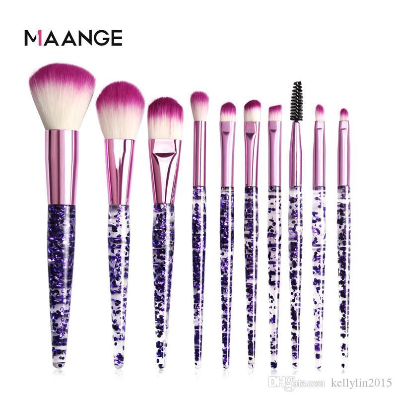 10pcs Makeup Brush Set Clear Glitter Crystal Handle Cosmetic Brush Eyeshadow Eyelashes Blush Larger Powder Diamond Make up Brushes Kit Tools