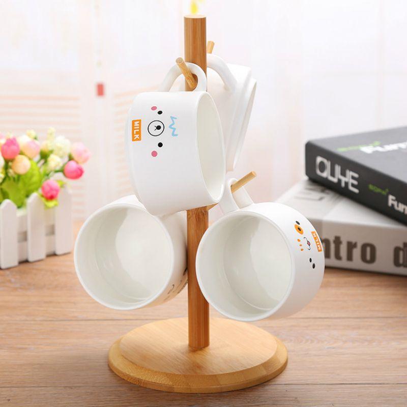 200ml의 커피 컵 세트 매트 세라믹 머그잔 선물 커피 세트 개인화 된 카페 잔 4 컵 선물 나무 랙