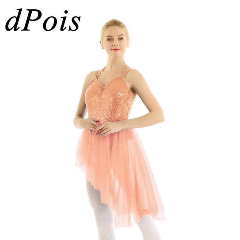 Women Adults Halter Neck Sequins Irregular Tulle Ballet Dance Gymnastics Leotard Dress Shiny Dancing Tutu Dresses For Ballerina