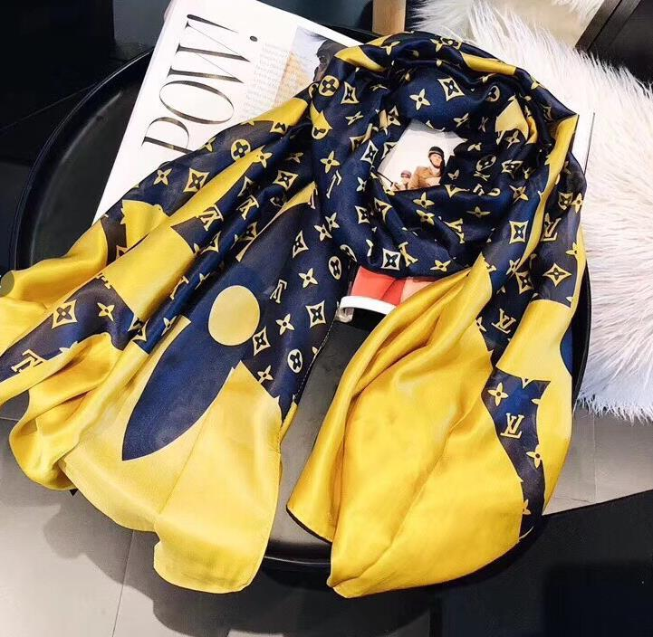 diseñador de seda largo de la bufanda de las mujeres de la venta caliente Marca impresa letra bufandas chales de pashmina de verano grandes bufandas Hijab para las señoras 180x90cm T636