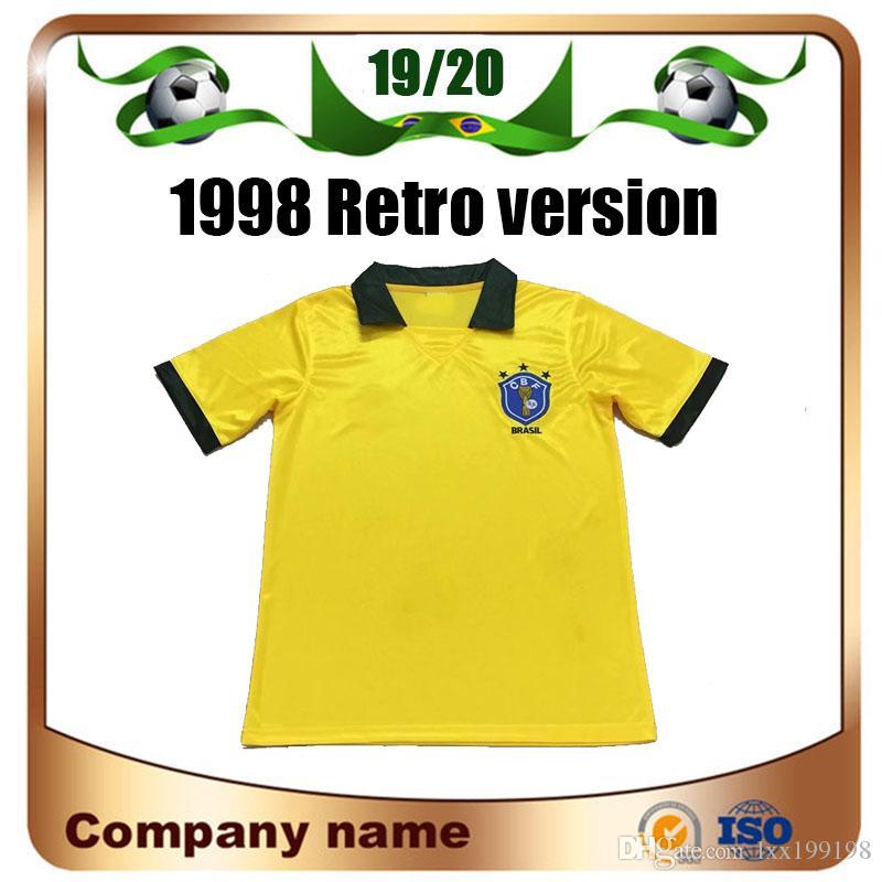 1998 Retro Edition Brazil Soccer Jersey 1998 World Cup Brazil Home Soccer Shirt RONALDO Short sleeve football uniforms Sale