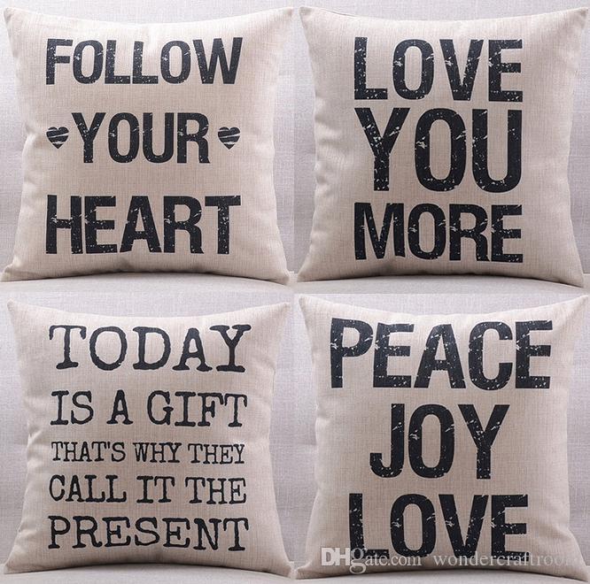 European Retro Vintage English Letters Cushion Covers LOVE YOU MORE PEACE JOY HEART Cushion Cover Decorative Linen Cotton Pillow Case