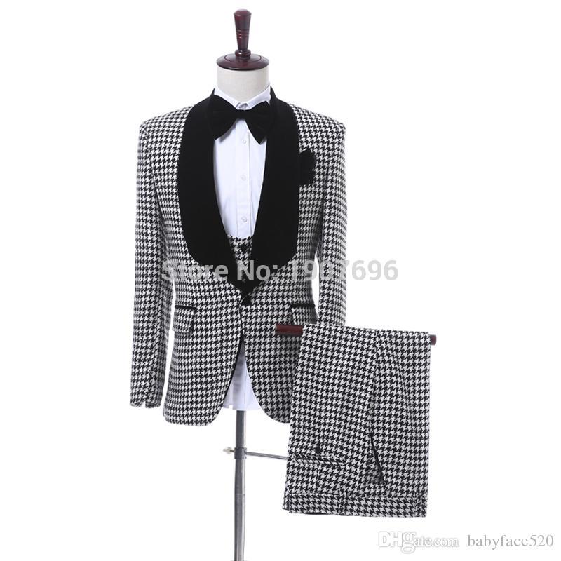 Black Plaid Cloth Men Suits for Wedding Black Shawl Lapel Blazer Trim Fit Three Piece Groom Tuxedos Jacket Pants Vest