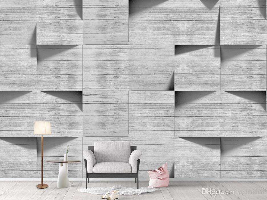 Пользовательские 3D обои росписи 3d Nordic мода обои гостиной спальня фото роспись серый фон стены росписи