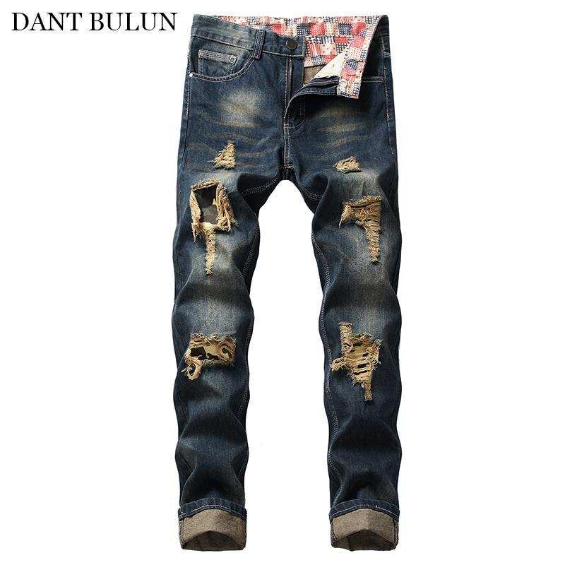 Мужские джинсы мужские разорванные с колен камуфляж лоскутные штаны прямые стройные винтажные синие джинсовые брюки брюки