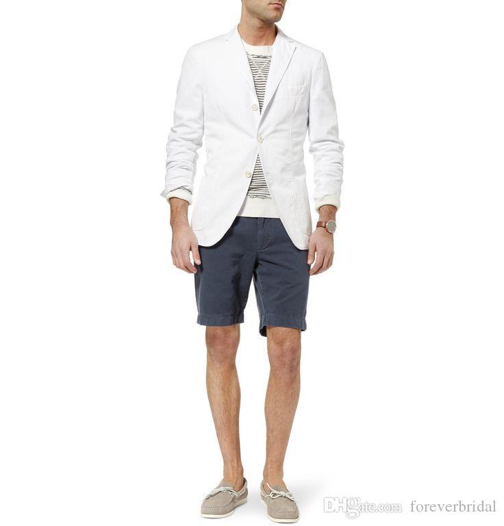 Summer Beach Line Wedding Tuxedos 2 Pieces Slim Fit Pants Suits Formal Men Casual Blazer Suits (Jacket+Pants)